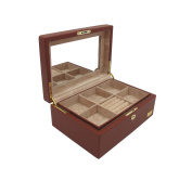 "Cordays Jewellery Box ""Premium Quality"" Hand Crafted with Wood covered with Cognac Smooth Soft Leatherette with Full Width Mirror CDL-10045"