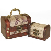 Set of two small captains treasure chests, nautical, world map