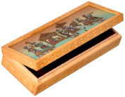 Little India Carved Gemstone Painted Wooden Jewellery Box 10.16 Cm X 25.4 Cm Brown