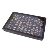 Malloom® Jewellery Rings Display Tray Velvet 100 Slot Case Box Jewellery Storage Box