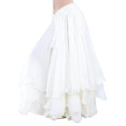 Dance Fairy white high-grade Chiffon Belly Dance Tribal Three layers long Skirt,Valentine's Gift Idea