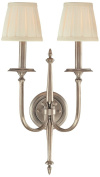 Hudson Valley Lighting Jefferson 2-Light Wall Sconce - Antique Nickel Finish with Off White Faux Silk Shade
