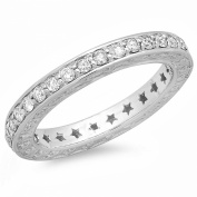 0.50 Carat (ctw) 14k White Gold Round Diamond Ladies Anniversary Star Eternity Band Stackable Ring 1/2 CT