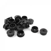 25mm Mount Hole Black Plastic Cable Snap Locking Bushing Grommet 20Pcs