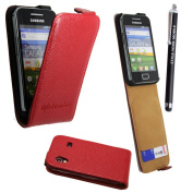 STYLEYOURMOBILE {TMfor for for for for for for for for for Samsung GALAXY ACE S5830 GENUINE RED LEATHER CARD POCKET HOLDER MAGNETIC FLIP SKIN CASE COVER POUCH + FREE STYLUS