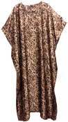 Long Leopard Printed Polyester Silky Soft Satin Kaftan