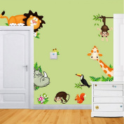 JoyGood DIY Removable Wall Decal Giraffe Monkey Lion Zoo Wall Sticker Art Home Decoration for Living Room Nursery Baby Children's Room Bedroom