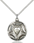 Sterling Silver Lutheran Pendant with 46cm Stainless Steel Lite Curb Chain.