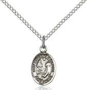 Sterling Silver St. Catherine Of Bologna Pendant with 46cm Stainless Steel Lite Curb Chain. Patron Saint of Artists/Liberal Arts