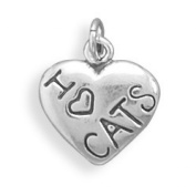 I Love CATS Charm, Sterling Silver