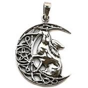 Solid Sterling Silver Moon Gazing Hare Pentagram Pendant P067