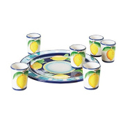 "Excèlsa ""Positano"" Blue Limoncello Set-6 Glasses & Dish"