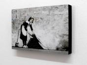 20cm X 30cm Block Mounted Print Banksy Maid Graffiti