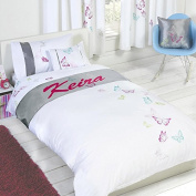 "Butterflies ""Keira"" Childrens Girls Personalised Duvet Cover Quilt Bedding Set"