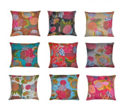 Indian Home Decor Thread Embroidery Work Block Printed Kantha Cushion Cover, 41 X 41 Cm, lot of 10 pcs