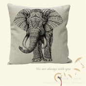 Amybria Animal Cotton Linen Home Decor Throw Pillow Case Cushion Cover Elephant