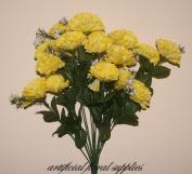 18 head YELLOW carnation artificial flower bush wedding/grave/vase