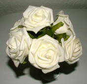 4 Bunches of 6 (24 flowers) Large Ivory / Cream Foam Roses - wedding corsage buttonholes