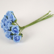 Bunch of 10 Foam Rose Buds (Blue) - Artificial Flowers