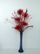 Red Silk Phoenix Flower Arrangement In A Choice Of Vase Colour - Adjustable Flowers For The Home, Office Or Special Occassion