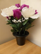 Artificial Plants -Purple Rose Bud White Rose Grave Side Flowers in Memorial Pot
