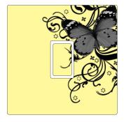 Grey, Cream & Black Butterfly Vinyl Light Switch Cover Sticker
