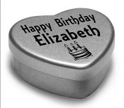 Happy Birthday Elizabeth Mini Heart Tin Gift Present For Elizabeth WIth Chocolates. Silver Heart Tin. Fits Beautifully in the Palm of Your Hand. Great Birthday Present To Show Somebody You are Thinking of Them.
