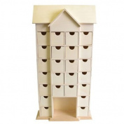 Artemio 25 x 51 x 9 cm House Wooden Advent Calendar with Drawers to Decorate, Beige