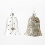 Set of Two Glass Bell Christmas Tree Decorations