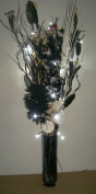 Link Products 95Cm Black & Cream Bouquet In Glass Vase With 20 Led Lights