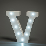 Up in Lights Decorative LED Alphabet White Wooden Letters - Letter V
