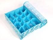 Foldable BLUE underwear sock bra tie draw DIVIDER organiser STORAGE container box