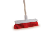 30cm Soft Colour Coded Food Hygiene Brush Sweeping Broom and Aluminium Handle RED