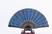 Domire Embroidered Flower Pattern Black Cloth Folding Hand Fan for Woman,light blue