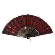 Embroidered Flower Pattern Black Cloth Folding Hand Fan