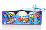 Giant Bath Bombs for Lush Bath Toys, Stocking Stuffers, Birthday Presents. 'Just Desserts' Bath Gift Set From Fizz Bath Bombs Includes 3 Giant Bombs in Amazing Colours and Fruity Scents. Bath Times Could Not Be More Fun