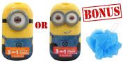 Despicable Me Minion 3-in-1 Bodywash, Shampoo & Conditioner W/ FREE Bath Sponge Pouffe for Kids
