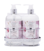 Upper Canada Soap Brompton and Langley Hand/Body Wash and Lotion Caddy Gift Set, Almond Milk