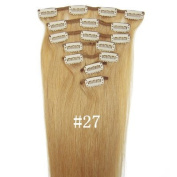 #27 Strawberry Blonde 38cm 46cm 50cm 60cm Fashional Clips in Remy Human Hair Extensions For Full Head Hot Sale