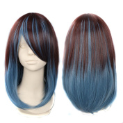 Wowlife 15inch / 40cm Long Wig Two Tone Gradually Varied One Piece Straight Hair Replacement Brown Dark Blue