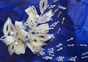 Bridal headpiece, light ivory, sequins, pearls, bugle beads, #TR-3007