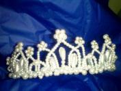 Bridal Headpiece, White Pearl and Rhinestone Crown, One Piece, #K1-1580