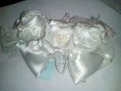 Bridal headpiece, white satin roses on comb, one piece, #LW3240