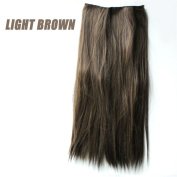 60cm Straight Full Head Clip in Hair Extensions Light Brown