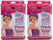 Turbie Twist Microfiber Super Absorbent Hair Towel (2 Pack) Signature Prints