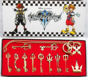 Kingdom Keys Hearts Keyblade Pendant Necklace Set Cosplay Accessories 12pcs Golden