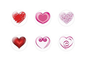 6pc x 25mm Handmade Round Domed Czech Glass Cabochons Hearts 3 S1T48
