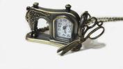 Retro Sewing Machine Carved Pocket Watch Pendant - Vintage Style Scissor Steampunk Charm Pocketwatch Necklace