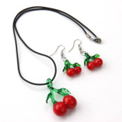 Skyus® Cherry Fruit Lampwork Glass Pendant Necklace Earrings Kit