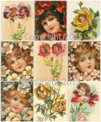 Vintage Victorian Flower Faces Collage Sheet Art Images for Decoupage, Scrapbooking, Jewellery Making